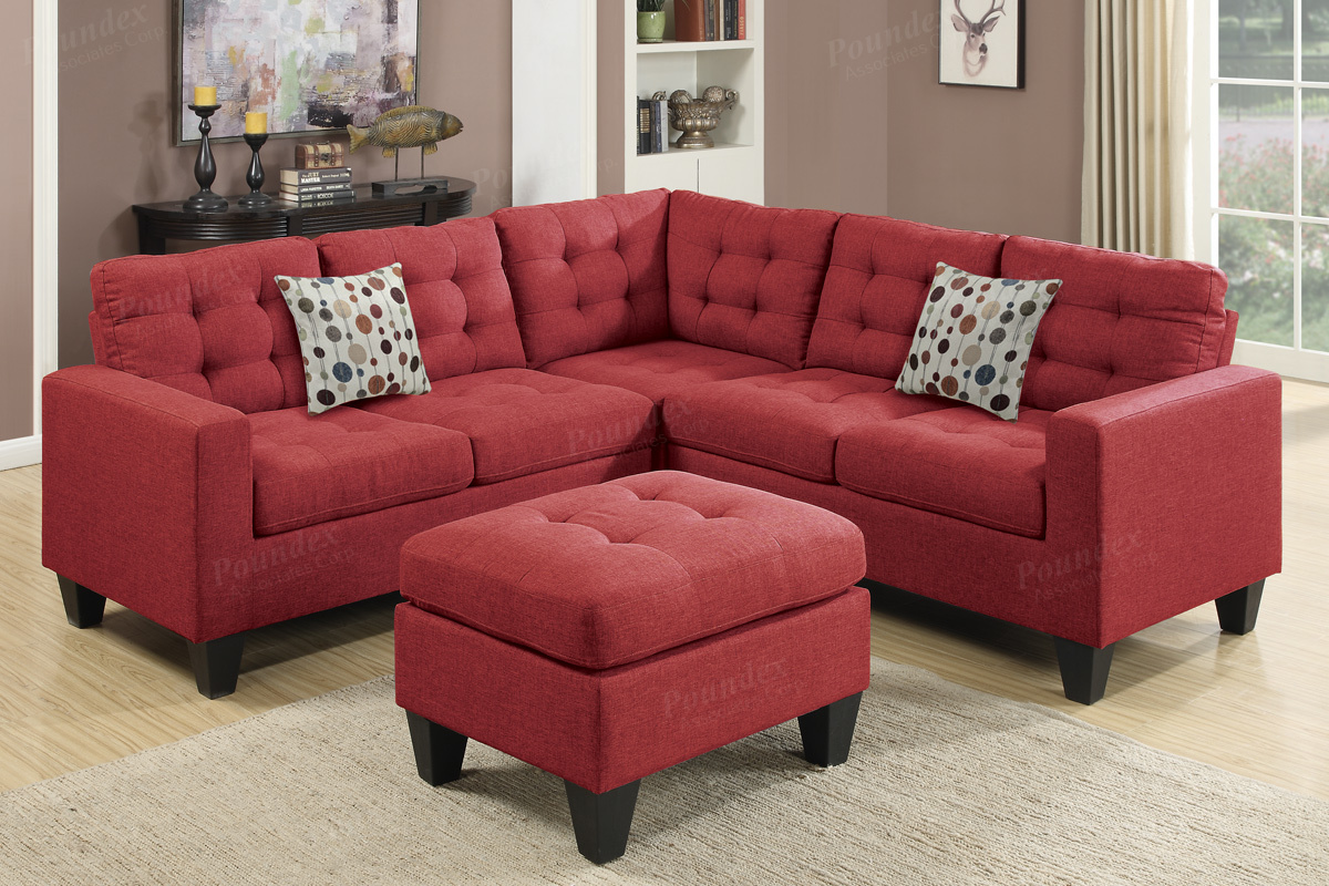 Red Fabric Sectional Sofa and Ottoman - Steal-A-Sofa Furniture Outlet Los  Angeles CA