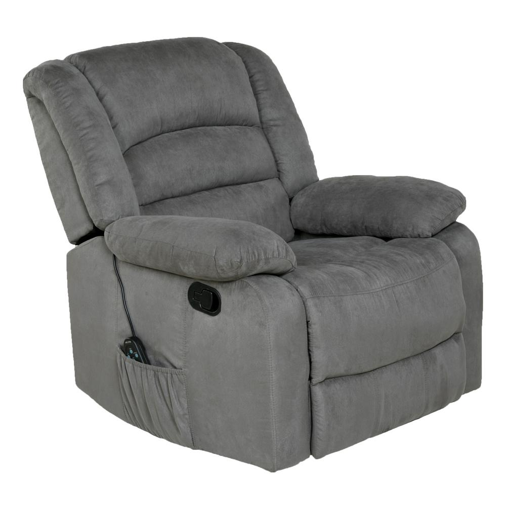 Relaxzen Longstreet Grey Microfiber Massage Rocker Recliner with Heat and  Dual USB-60-701004M - The Home Depot