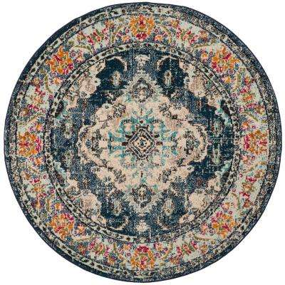 Monaco Navy/Light Blue 7 ft. x 7 ft. Round Area Rug