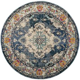 Safavieh Monaco Mahal Navy/Light Blue Round Indoor Oriental Area Rug  (Common: 7