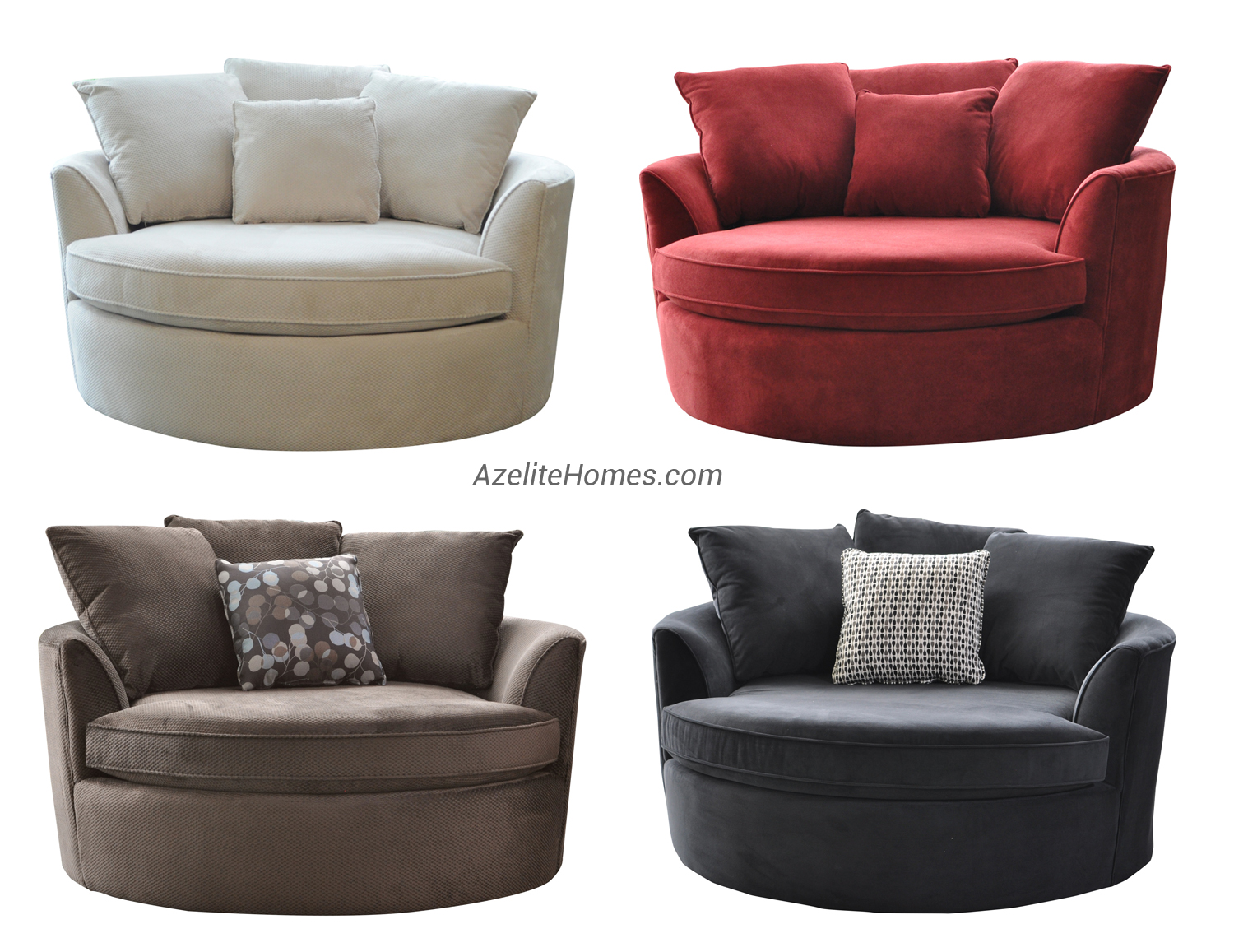 Modern Upholstered Microfiber Fabric Round Swivel Loveseat Chair with  Hardwood Frame and Removable Seat Cushion with Black White Brown and Red  Color Options