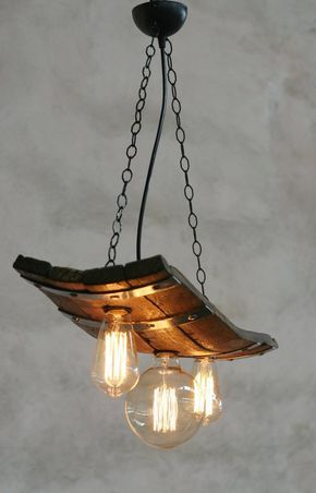 Rustic ceiling lights. Wine barrel with 3 lights in 2019