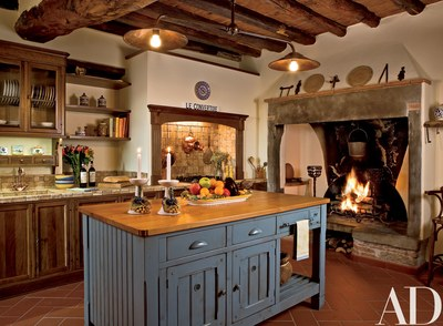 In an Italian fortress turned residence, designer Susan Schuyler Smith  installed the center island and cabinetry in the kitchen. The  mid-19th-century