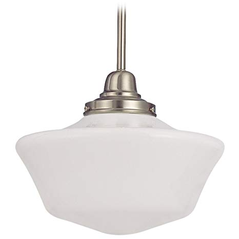 12-Inch Schoolhouse Pendant Light in Satin Nickel Finish - Ceiling