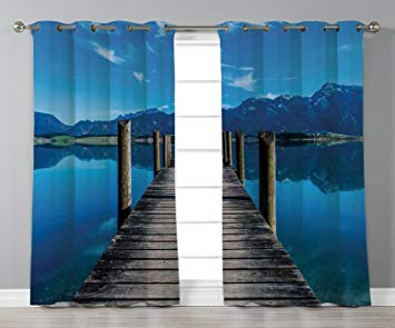 Amazon.com: iPrint Stylish Window Curtains,Seascape,Wooden Pier