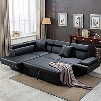 Corner Sofa Set, 2 Piece Modern Contemporary Faux Leather Sectional Sofa  Black