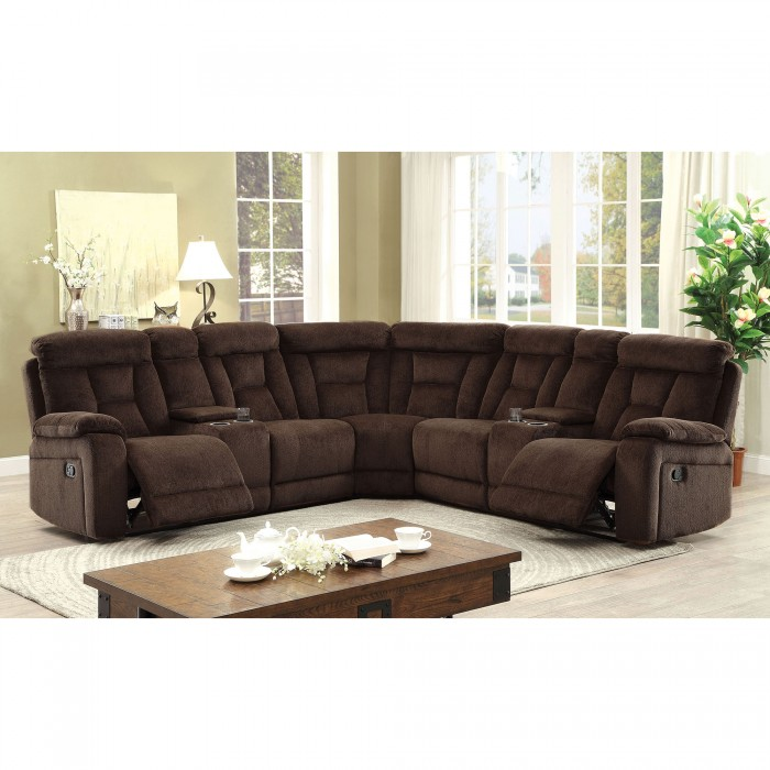 Product Image Recliner Sectional Sofa Brown Chenille Fabric Sectional  Sectionals w/2 Console Couch Plush Comfort Living