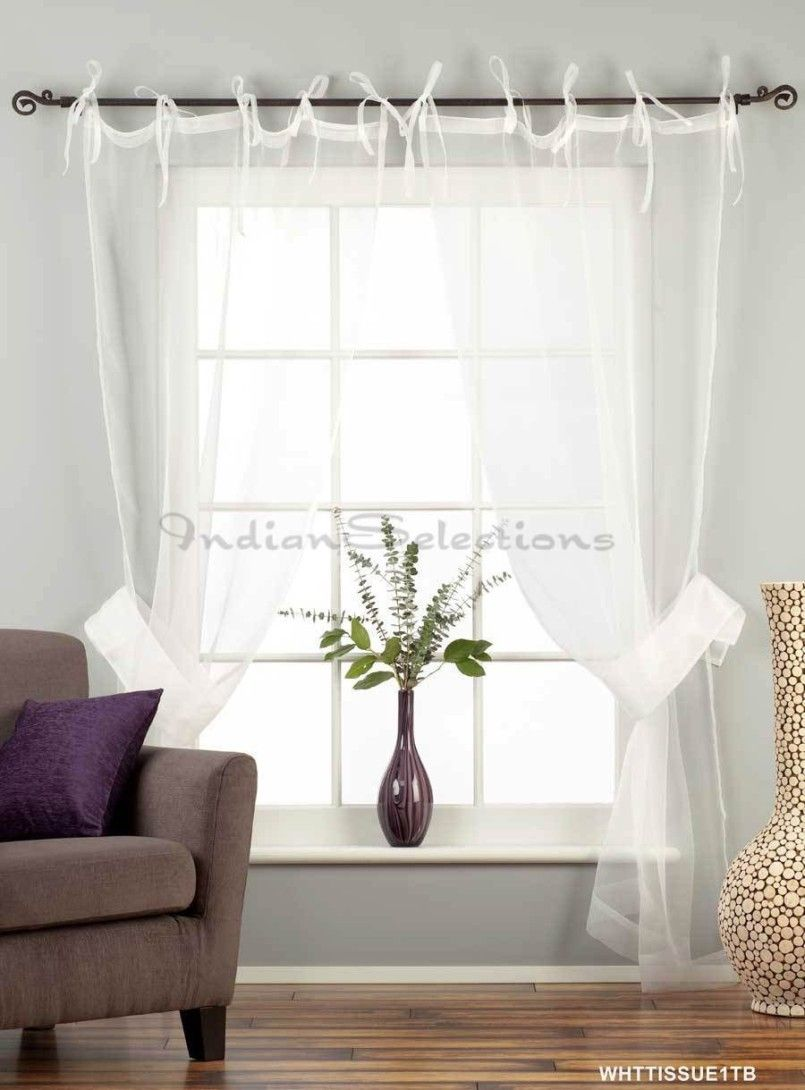 White Sheer Curtains Ideas: White Tie Top Sheer Tissue Curtain Drape Panel  ~ Traveller Location Photos Inspiration
