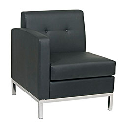 Office Star Wallstreet Series Left Hand Single Arm Chair, Black faux leather
