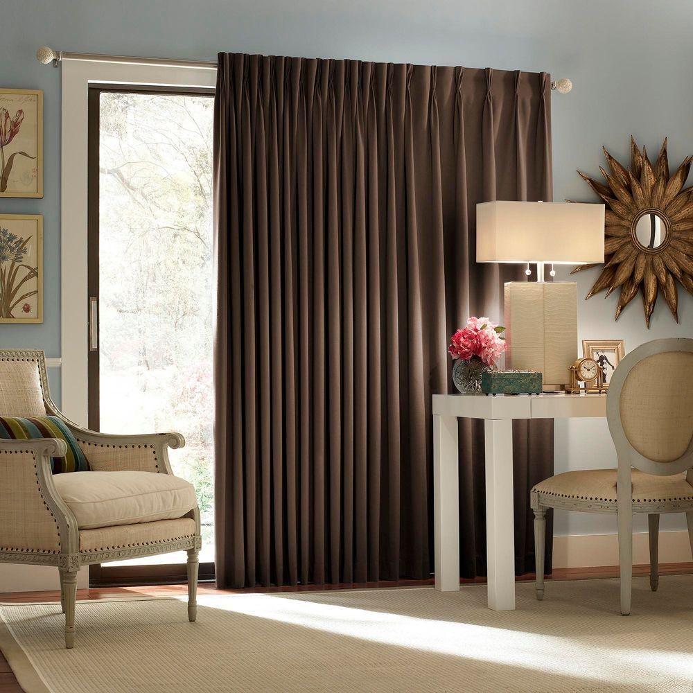 Blackout Thermal Blackout Patio Door 84 in. L Curtain Panel in Espresso