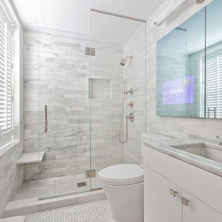 Inspiration for a small contemporary master white tile and stone tile  marble floor bathroom remodel in