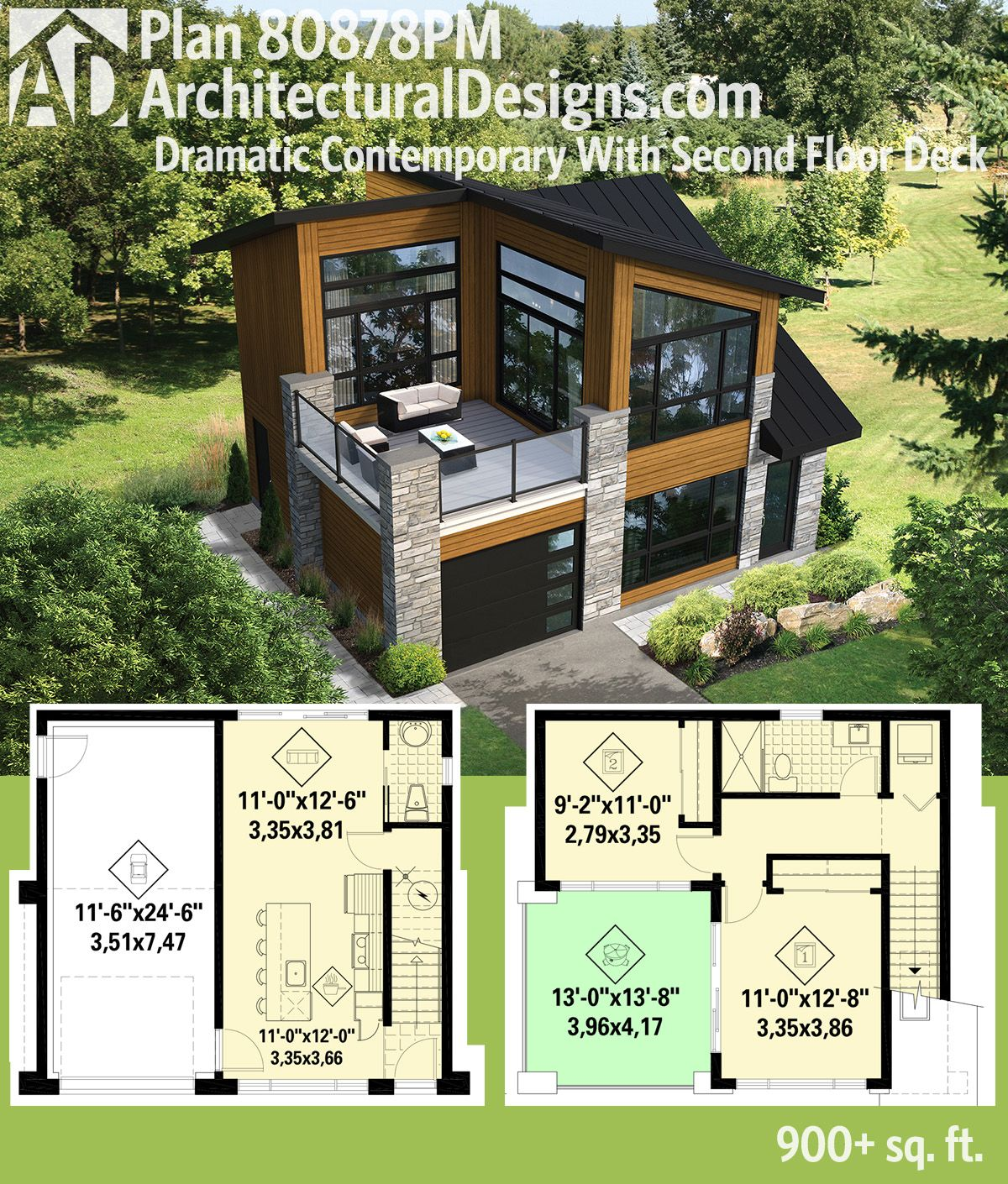 I would have a covered porch and not such big windows. Architectural Designs  Modern House Plan 80878PM.