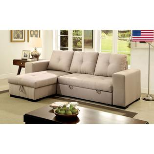 Furniture of America Living Room Small Sectional Sofa w Storage Reversible  Chaise Pull Out Bed Sleeper Ivory Fabric Contemporary US Made Sectionals