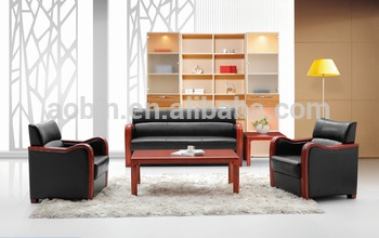 Small Size Office Sofa Set with Wooden Arm