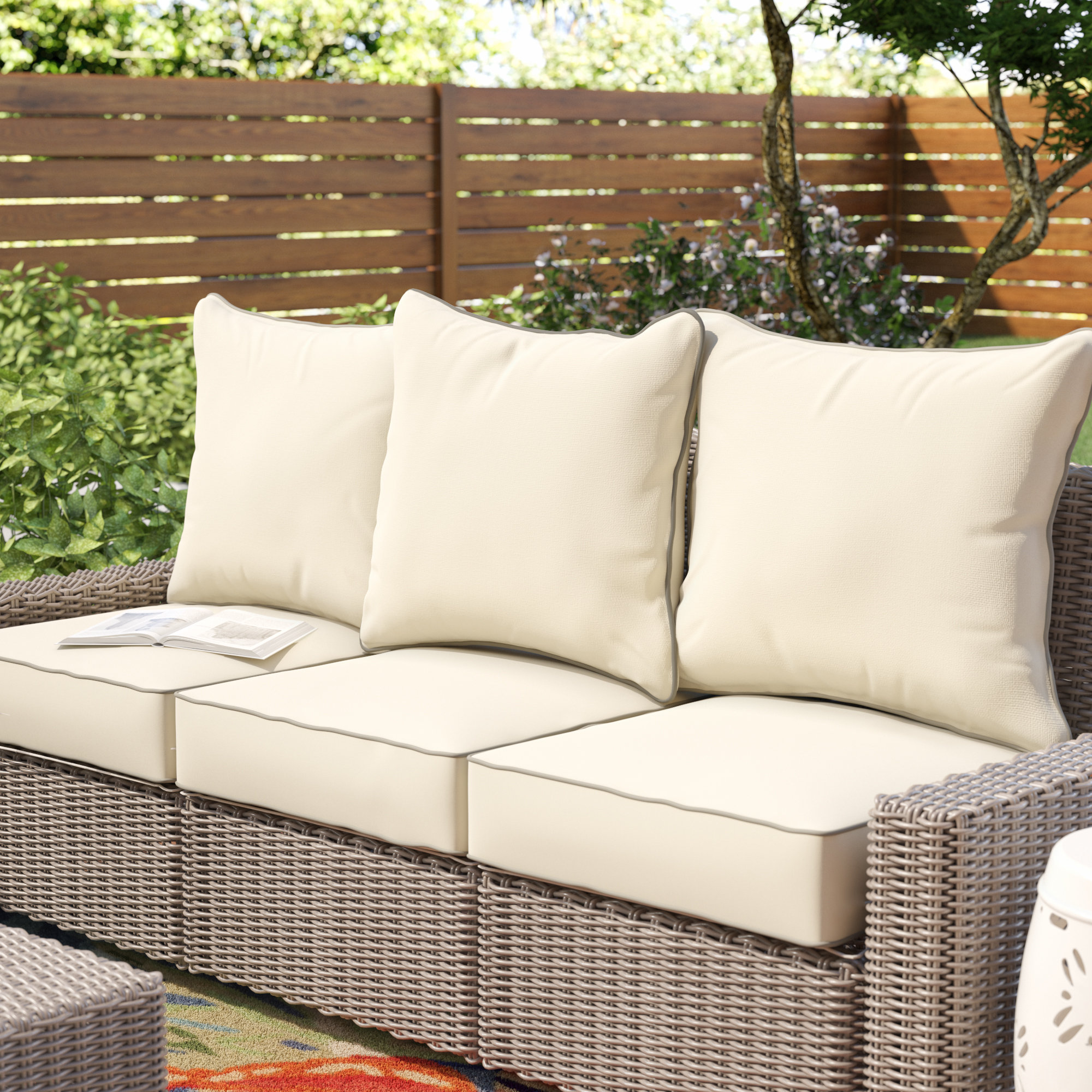 Beachcrest Home 6 Piece Piped Indoor/Outdoor Sunbrella Sofa Cushion Set &  Reviews | Wayfair