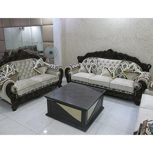 Wood and Rexine 5 Seater Designer Sofa Set