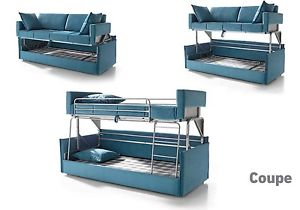 Image is loading Coupe-Sofa-Sleeper-Bunk-Bed -Convertable-Modern-Contemporary-