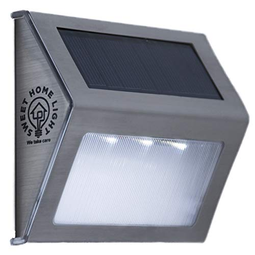 Solar Step Lights Outdoor Waterproof with 3 LEDs, Wireless Stainless