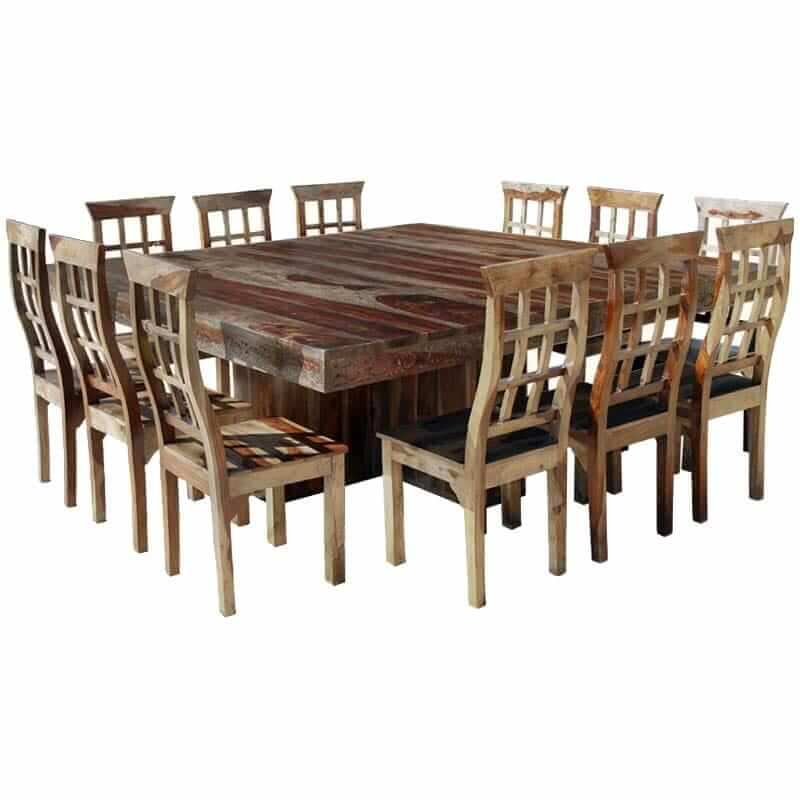 Dallas Ranch Large Square Dining Room Table and Chair Set For 12. Hover to  zoom