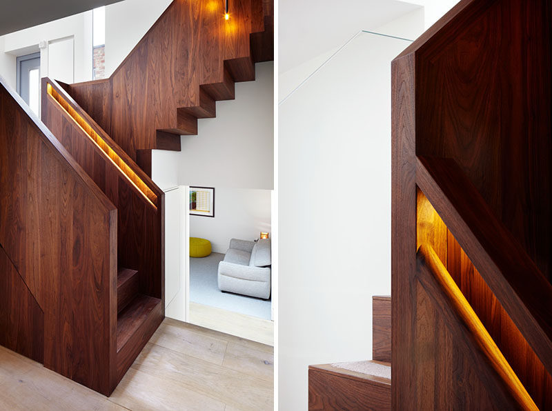 Hidden Handrail Lighting Is A Creative Idea For A Staircase