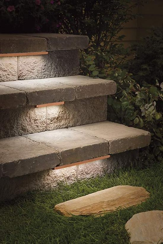 Low-profile contemporary stair lighting under treads of outdoor
