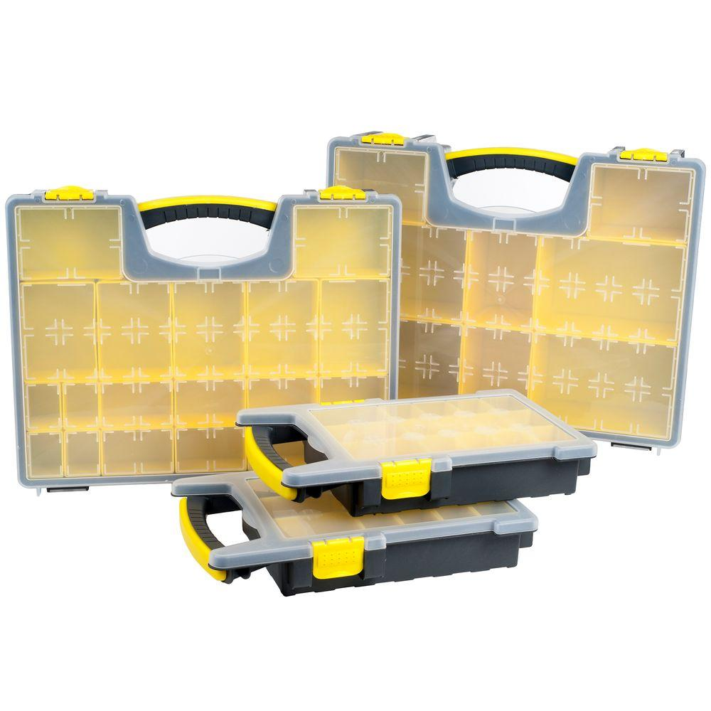 57-Compartment Parts and Crafts Portable Storage Small Parts Organizer 4  Box Set