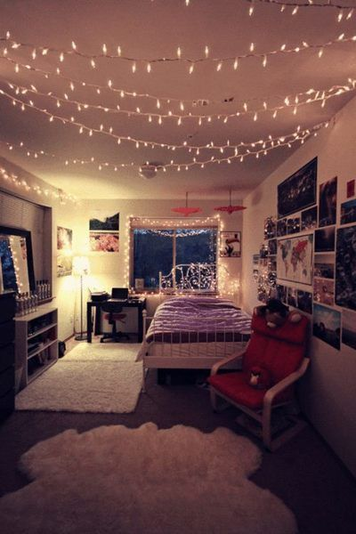 22 Ways To Decorate With String Lights For The Coolest Bedroom | ~My