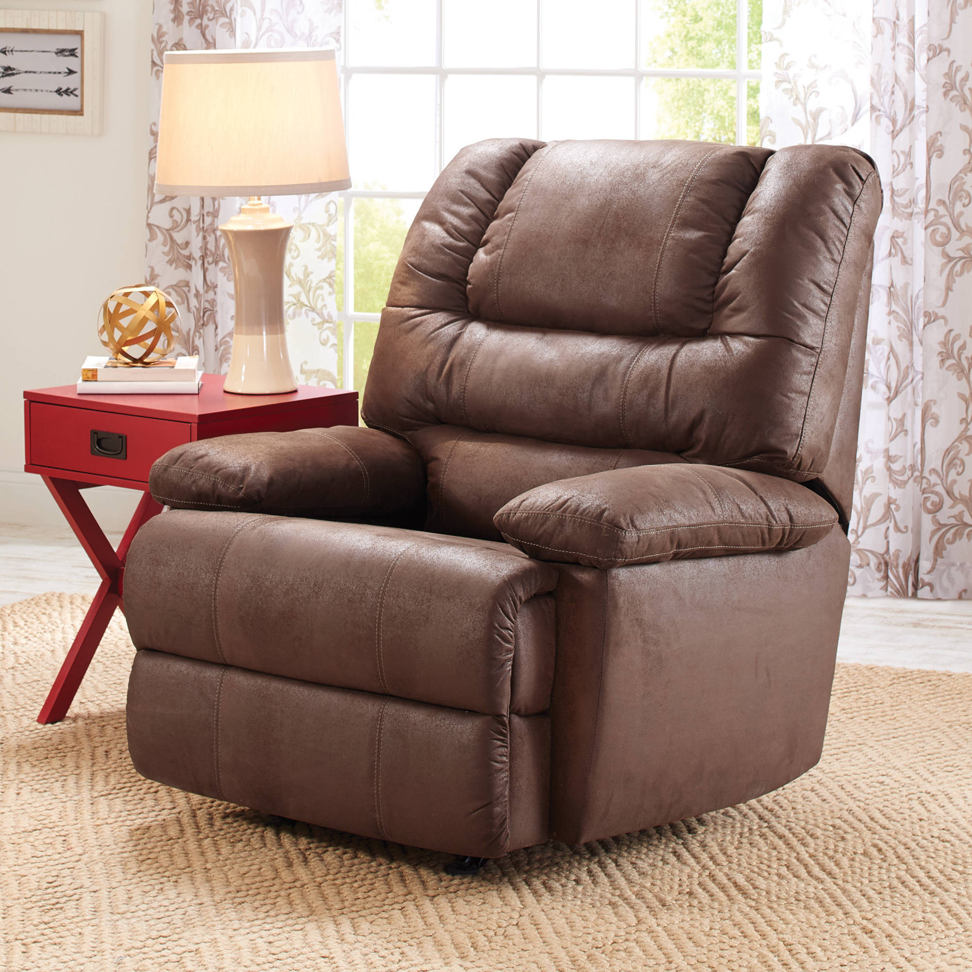 Simmons Manhattan Faux Leather Recliner | Simmons Recliner | Cuddle Up  Recliner