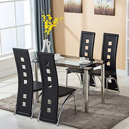 Amazon.com - Mecor Dining Room Table Set, 5 Piece Glass Kitchen