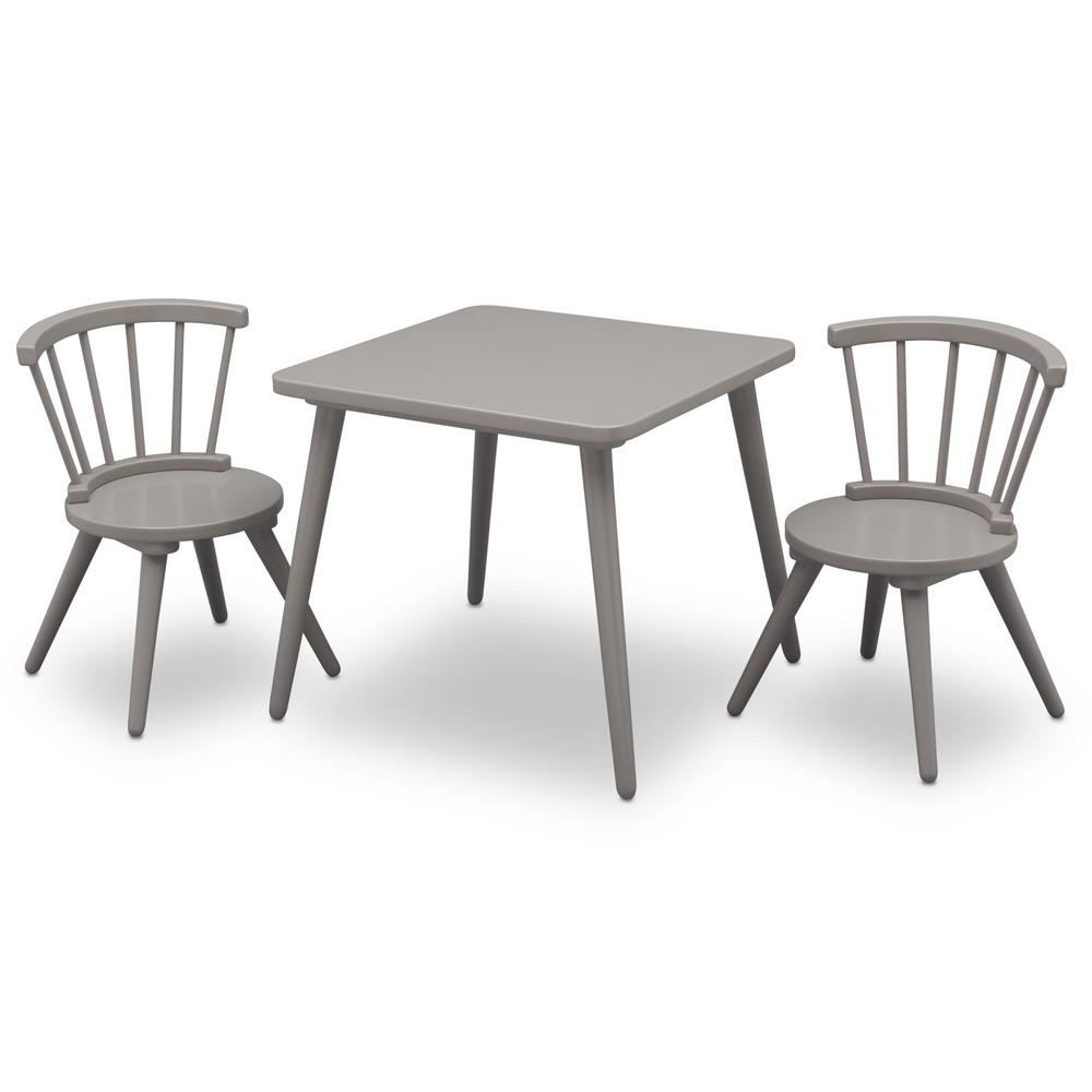 Delta Children Grey Windsor Table and 2-Chair Set