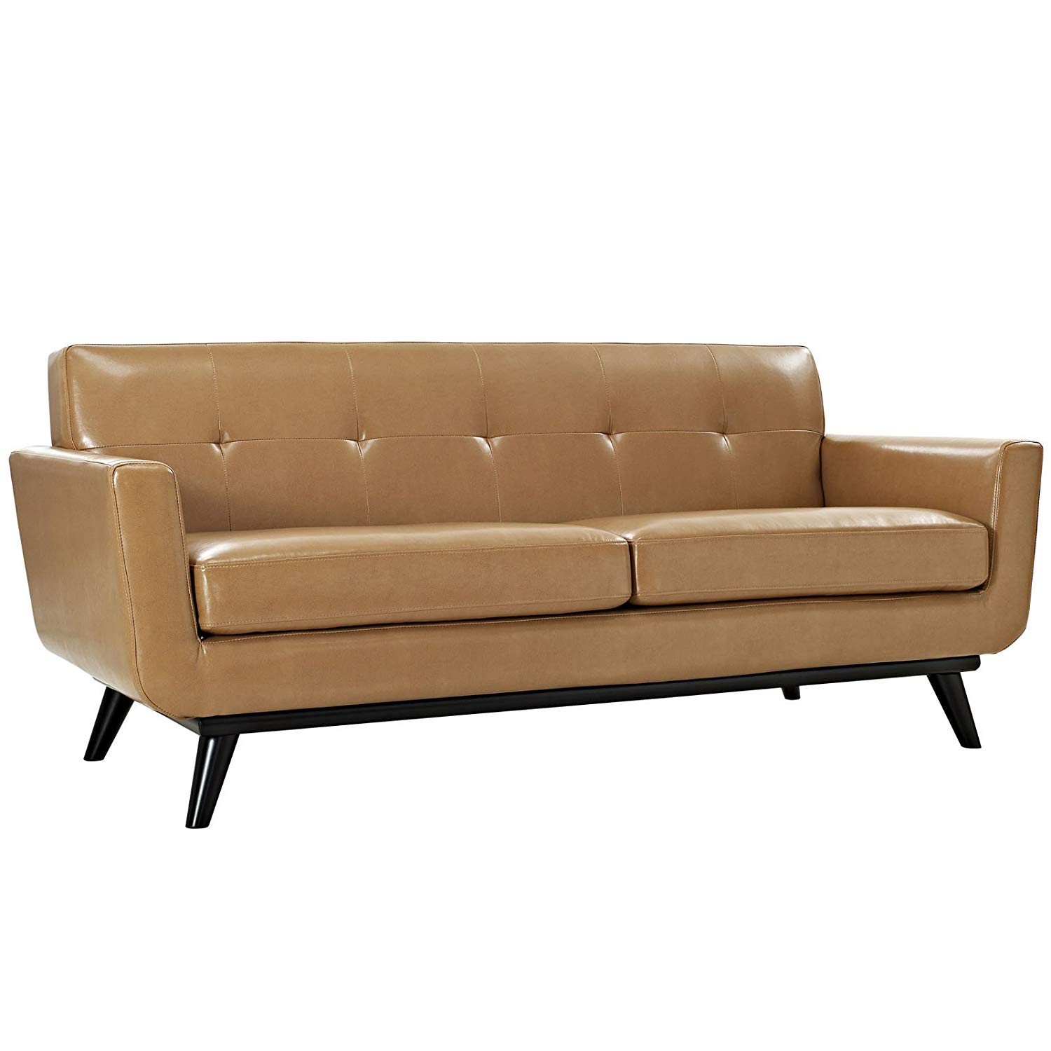 Traveller Location: Modway Engage Mid-Century Modern Upholstered Leather Loveseat  In Tan: Kitchen & Dining