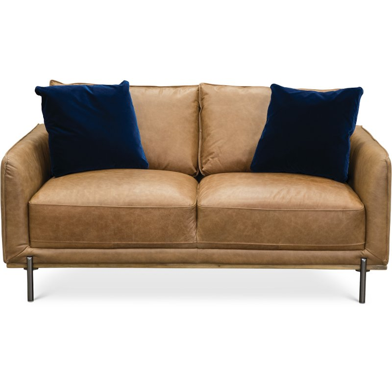 Mid-Century Modern Camel Brown Leather Loveseat - Marseille | RC Willey  Furniture Store