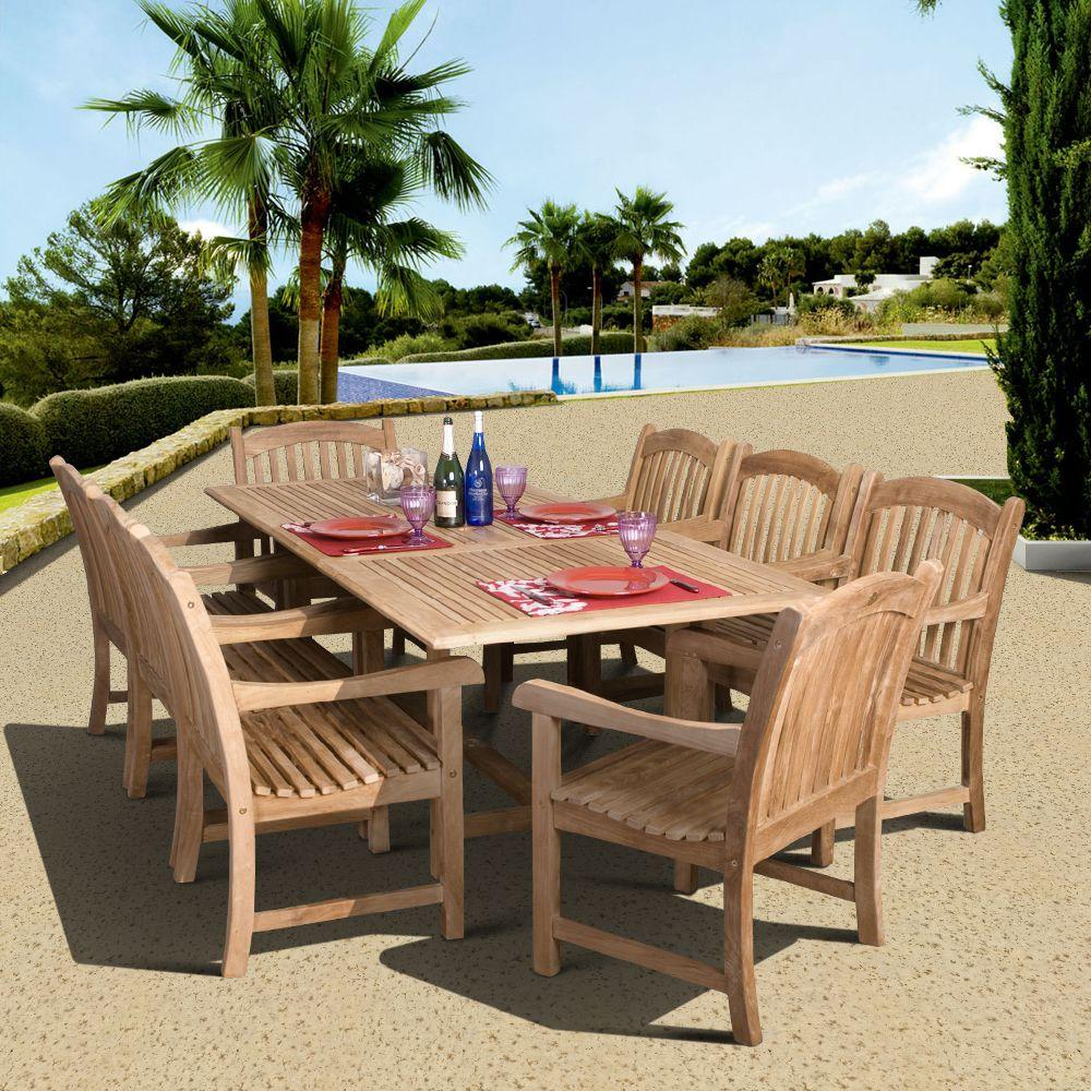 Amazonia Newcastle 9-Piece Teak Patio Dining Set