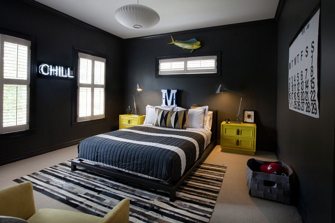 Mesmerizing Black Cool Bedroom Ideas For Guys With Yellow Wooden .