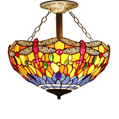 16C Tiffany Ceiling Light Fixture Semi Flush Ceiling Lamp 16 Inch