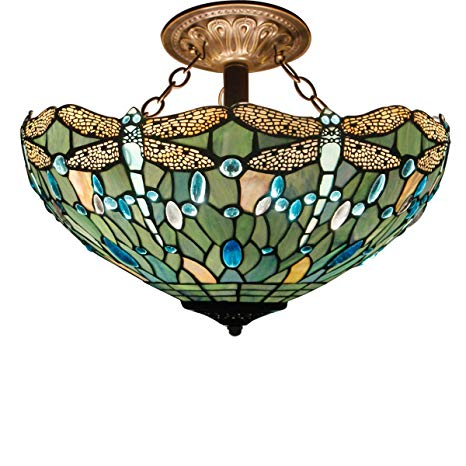 Tiffany Ceiling Fixture Lamp Semi Flush Mount 16 Inch Stained Glass