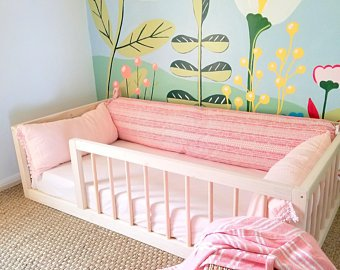 Montessori Floor Bed With Rails Full Floor Bed Hardwood INCLUDES SLATS
