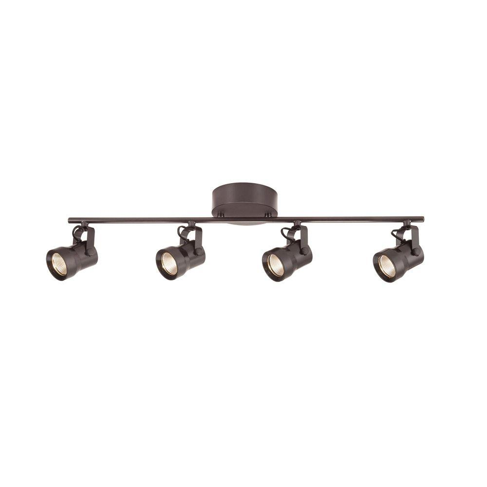 4-Light Bronze LED Dimmable Fixed Track Lighting Kit with Straight