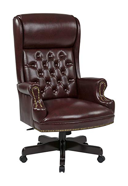 Office Star TEX228-JT4 Deluxe High Back Traditional Executive Chair with  Solid Arms and Built