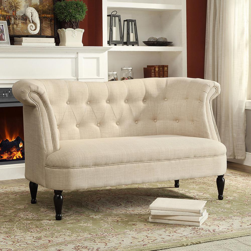 Baxton Studio Erica Traditional Beige Fabric Upholstered Loveseat