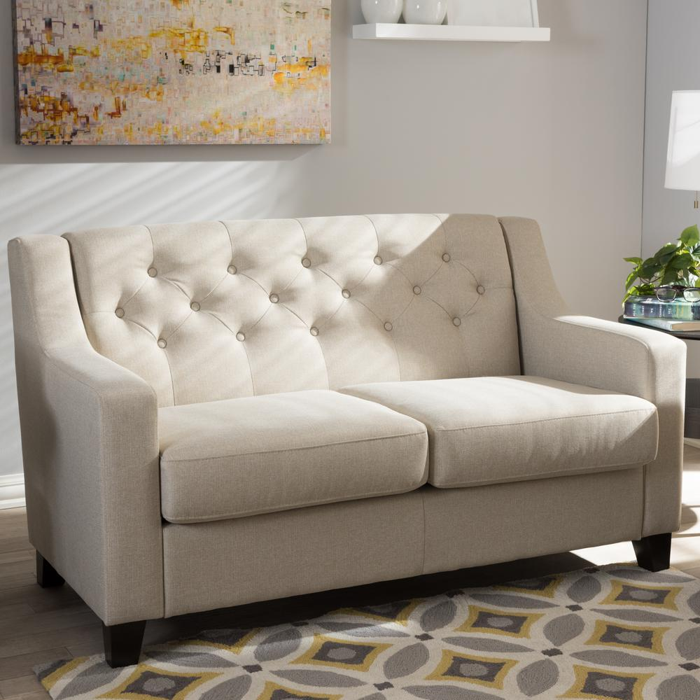 Baxton Studio Arcadia Contemporary Beige Fabric Upholstered Loveseat