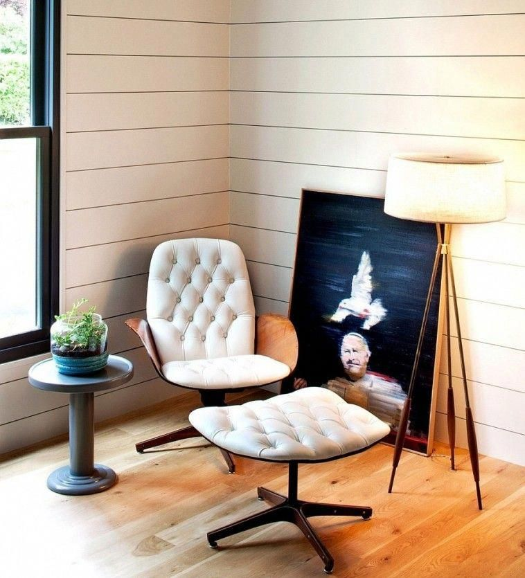 White Tufted Chair Added With Foot Rest Plus Small Round Table And Standing  Lamp