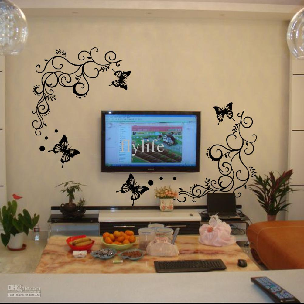 DIY Butterflies Fluttering Around Growing Vine Black Mordern Art Wall Decor  Stickers Decals For Living Room Childrens Wall Stickers For Bedrooms Circle  Wall