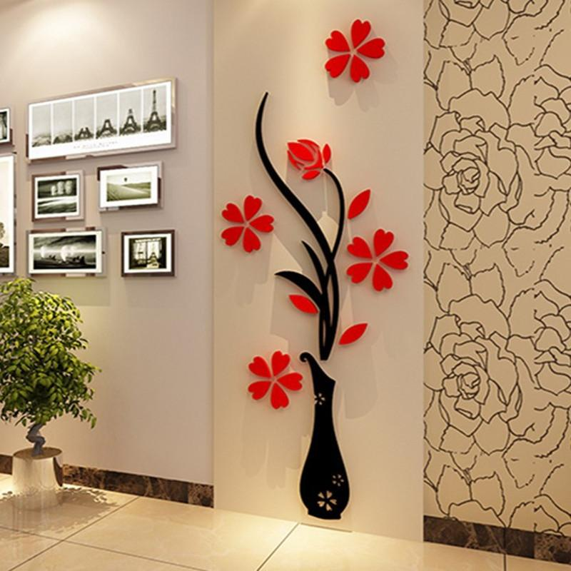 3D Plum Vase Wall Stickers Home Decor Creative Wall Decals Living Room  Entrance Painting Flowers For Room Home Decor DIY Hot New Home Decor Wall  Decals Home