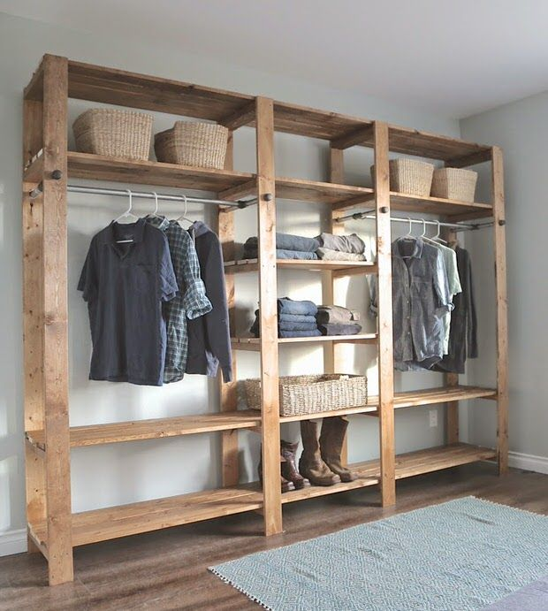 DIY wardrobes- I like how simple this is, yet can contain a  lotwith either a false wall in front of it, or curtains attached to it,  would be easy