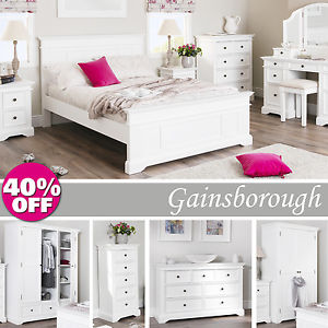 Image is loading Gainsborough-White-Bedroom-Furniture -Bedside-Cabinets-Chest-of-