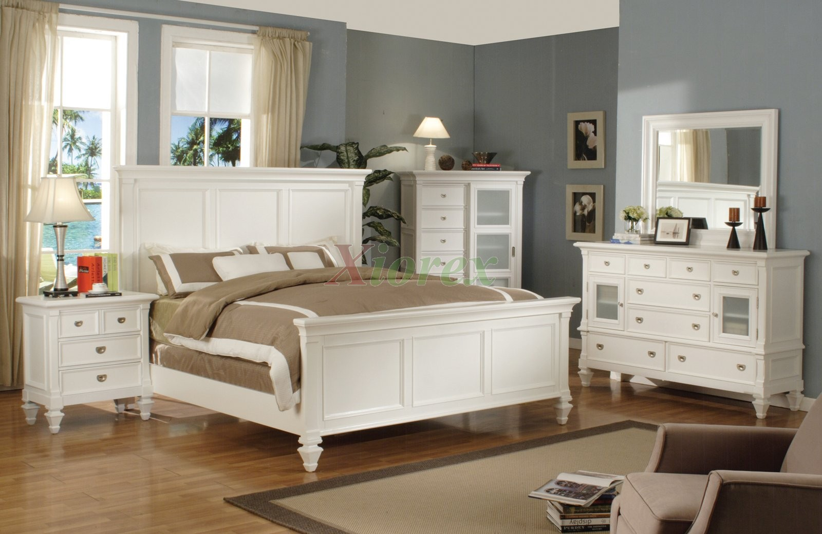 White Bedroom Set with Tall Headboard King and Queen Beds 126 | Xiorex;  Black Bedroom Furniture