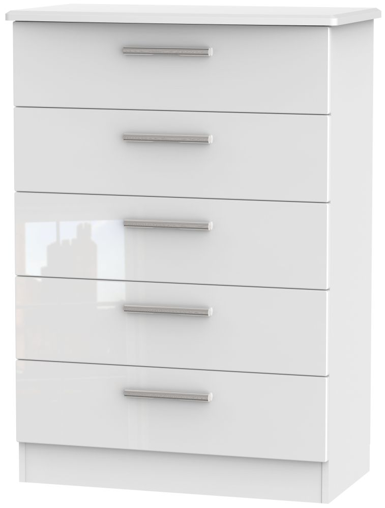 Knightsbridge High Gloss White 5 Drawer Chest