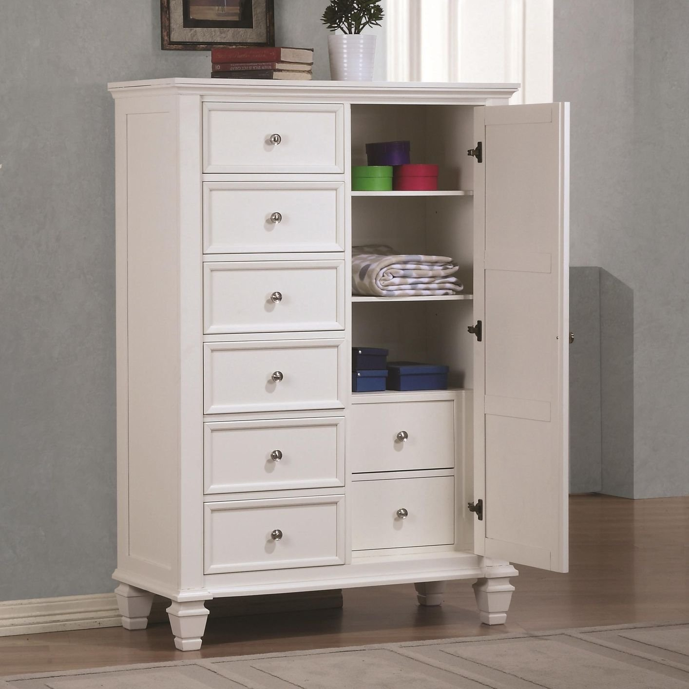 White Wood Chest of Drawers - Steal-A-Sofa Furniture Outlet Los Angeles CA