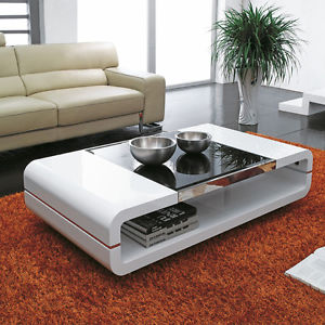 Image is loading High-Gloss-White-Black-Glass-Top-Coffee-Table-